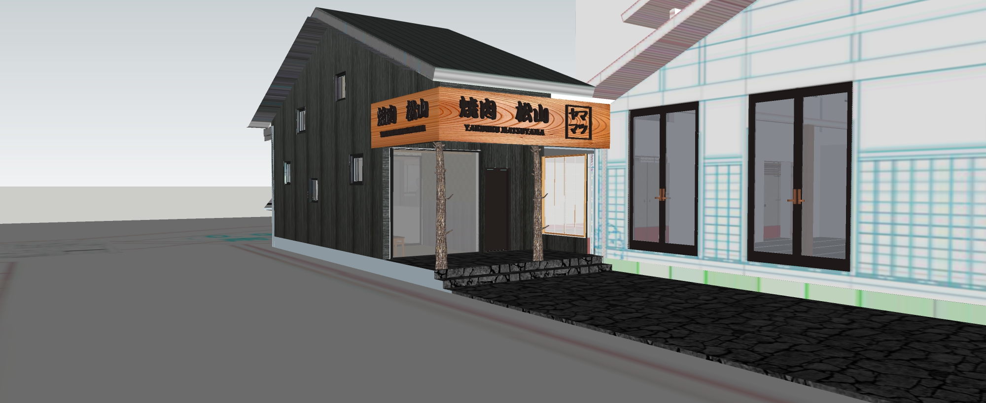 170811-goryu-3D-焼肉ハウス-仕上-レストラン入口